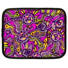 Purple Tribal Abstract Fish Netbook Case (xxl)  by KirstenStar