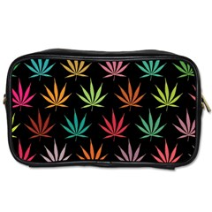 Cannabis Leaf Multi Col Pattern Toiletries Bags 2 Side by ScienceGeek