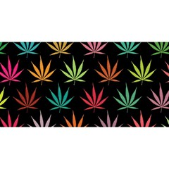 Cannabis Leaf Multi Col Pattern You Are Invited 3d Greeting Card (8x4)  by ScienceGeek