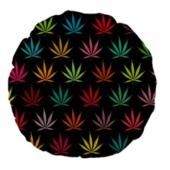 Cannabis Leaf Multi Col Pattern Large 18  Premium Flano Round Cushions by ScienceGeek