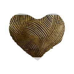Brushed Gold 050549 Standard 16  Premium Flano Heart Shape Cushions by AlteredStates