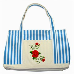 Rose Garden Striped Blue Tote Bag  by AlteredStates