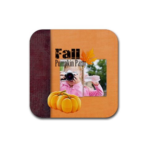 Fall By Joely   Rubber Square Coaster (4 Pack)   1vds6im2lrrf   Www Artscow Com Front