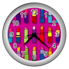 Lipsticks Pattern Wall Clocks (silver)  by theimagezone