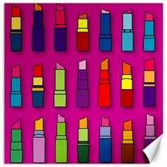 Lipsticks Pattern Canvas 12  x 12   by theimagezone