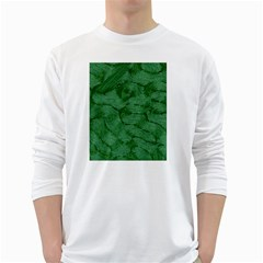 Woven Skin Green White Long Sleeve T-Shirts by InsanityExpressed
