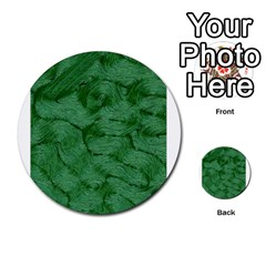 Woven Skin Green Multi Purpose Cards (round)