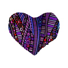 Stained Glass Tribal Pattern Standard 16  Premium Heart Shape Cushions by KirstenStar
