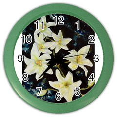 Bright Lilies Color Wall Clocks by timelessartoncanvas