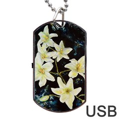 Bright Lilies Dog Tag Usb Flash (one Side) by timelessartoncanvas