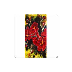 Red Orchids Square Magnet