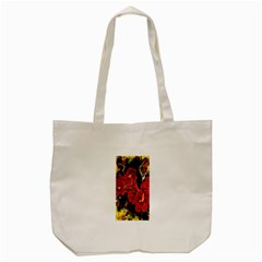Red Orchids Tote Bag (cream)  by timelessartoncanvas