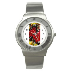 Red Orchids Stainless Steel Watches by timelessartoncanvas