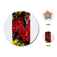 Red Orchids Playing Cards (round)  by timelessartoncanvas
