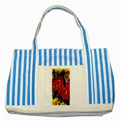 Red Orchids Striped Blue Tote Bag  by timelessartoncanvas