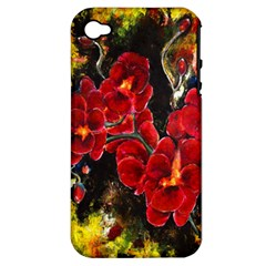Red Orchids Apple Iphone 4/4s Hardshell Case (pc+silicone) by timelessartoncanvas