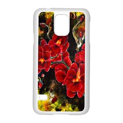 Red Orchids Samsung Galaxy S5 Case (white) by timelessartoncanvas
