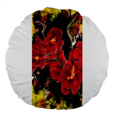 Red Orchids Large 18  Premium Flano Round Cushions by timelessartoncanvas