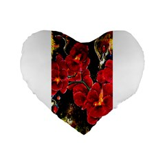 Red Orchids Standard 16  Premium Flano Heart Shape Cushions by timelessartoncanvas
