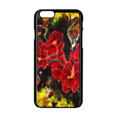 Red Orchids Apple Iphone 6 Black Enamel Case by timelessartoncanvas