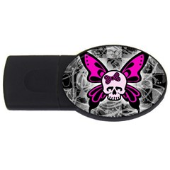 Skull Butterfly USB Flash Drive Oval (4 GB)  by ArtistRoseanneJones