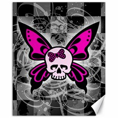 Skull Butterfly Canvas 16  X 20   by ArtistRoseanneJones