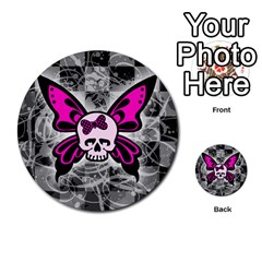 Skull Butterfly Multi Purpose Cards (round)  by ArtistRoseanneJones