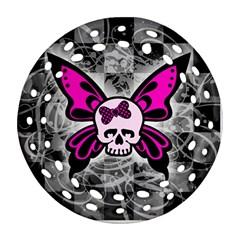 Skull Butterfly Round Filigree Ornament (2side) by ArtistRoseanneJones