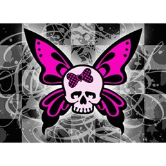 Skull Butterfly Birthday Cake 3d Greeting Card (7x5)  by ArtistRoseanneJones