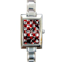 Emo Checker Graffiti Rectangle Italian Charm Watches by ArtistRoseanneJones