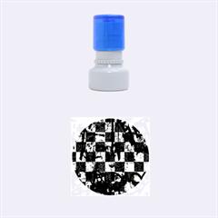 Emo Checker Graffiti Rubber Round Stamps (Small) by ArtistRoseanneJones