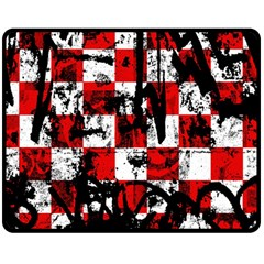 Emo Checker Graffiti Double Sided Fleece Blanket (medium)  by ArtistRoseanneJones