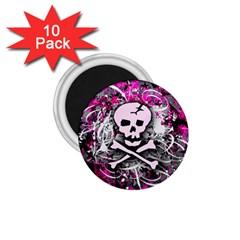 Pink Skull Splatter 1 75  Magnets (10 Pack)  by ArtistRoseanneJones
