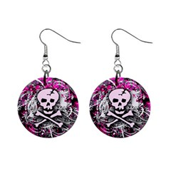 Pink Skull Splatter Mini Button Earrings by ArtistRoseanneJones