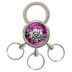 Pink Skull Splatter 3 Ring Key Chains by ArtistRoseanneJones