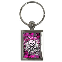 Pink Skull Splatter Key Chains (rectangle)  by ArtistRoseanneJones