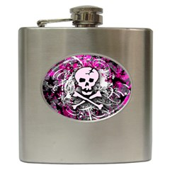Pink Skull Splatter Hip Flask (6 Oz) by ArtistRoseanneJones
