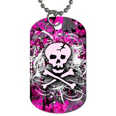 Pink Skull Splatter Dog Tag (two Sides) by ArtistRoseanneJones