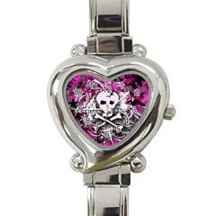 Pink Skull Splatter Heart Italian Charm Watch by ArtistRoseanneJones
