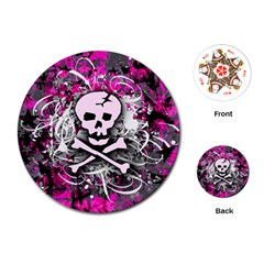 Pink Skull Splatter Playing Cards (round)  by ArtistRoseanneJones