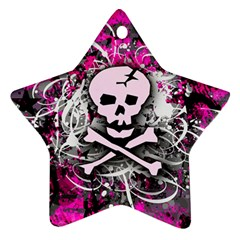 Pink Skull Splatter Star Ornament (two Sides)  by ArtistRoseanneJones