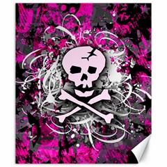 Pink Skull Splatter Canvas 20  X 24   by ArtistRoseanneJones