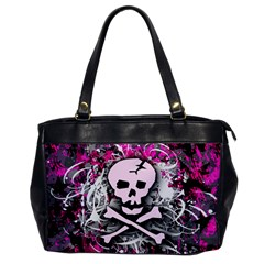 Pink Skull Splatter Office Handbags by ArtistRoseanneJones