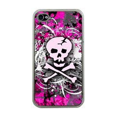 Pink Skull Splatter Apple Iphone 4 Case (clear) by ArtistRoseanneJones