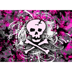 Pink Skull Splatter Birthday Cake 3d Greeting Card (7x5)  by ArtistRoseanneJones