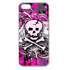 Pink Skull Splatter Apple Seamless Iphone 5 Case (clear) by ArtistRoseanneJones