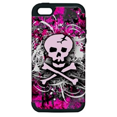 Pink Skull Splatter Apple Iphone 5 Hardshell Case (pc+silicone) by ArtistRoseanneJones