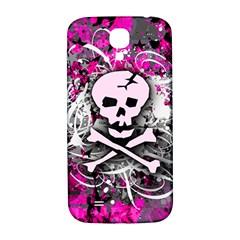 Pink Skull Splatter Samsung Galaxy S4 I9500/i9505  Hardshell Back Case by ArtistRoseanneJones