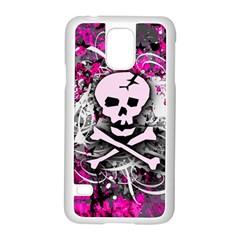 Pink Skull Splatter Samsung Galaxy S5 Case (white) by ArtistRoseanneJones