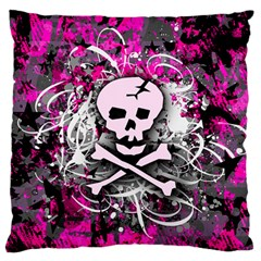 Pink Skull Splatter Standard Flano Cushion Cases (one Side)  by ArtistRoseanneJones